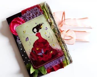 Mariposa - Unique and Handmade Fabric Journal - OOAK