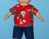 "Wonder Crew, Doll Clothes, Dog Shirt and Short,  14"" or 15"" Doll Clothes, Boy Doll Clothes, Will, James, Erik, Marco"