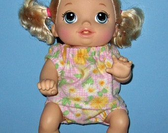Baby Alive, Go Bye Bye, Doll Clothes, Sunflower Pajamas, Set  Fits 15 16 Inch Doll,   Doll Clothes, Handmade Made in USA, Pinks
