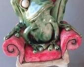 RESERVED Royal Frog Prince Ceramic Sculpture BALANCE -- for Lisa