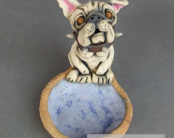 English Bulldog Ceramic Dish Sculpture