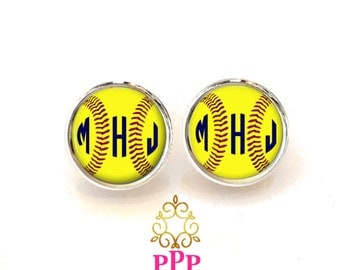 Softball Monogram Earrings, Monogram Stud Earrings, Monogram Jewelry (512)