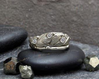 Diamond & 14 Karat White Gold Leaf and Twig Stacking Set