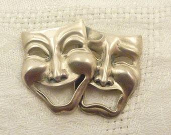 SALE ---- Beau Sterling Silver Comedy & Tragedy Brooch