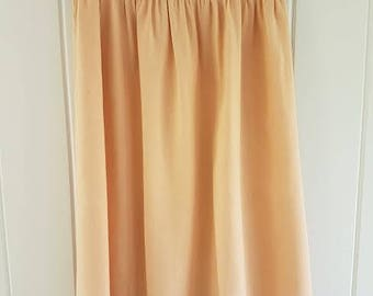 Vintage 80s Peach Raw Silk Skirt and Matching Short Sleeve Top by Christine Von Lumbe, Size 8