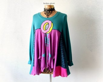 Shabby Gypsy Top Bright Colors Pink Donut Shirt Loose Fitting Womens Swing Tunic long Sleeve Bohemian Clothes Upcycled Clothing L XL 'SLOANE