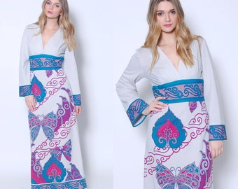 Vintage 70s ALFRED SHAHEEN Dress BUTTERFLY Print Dress Boho Maxi Dress Printed Dress