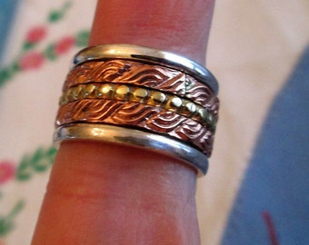 RING  - SPINNING - ORNATE - spinner  - Bumps - Swirls - Triple  - Wide - Bands - Three Tone - 925 - Sterling Silver - Size 7   spinner216