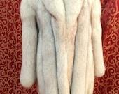 "1990's, CHLOE 40"" bust, silver fox, deep pile pelts, 3/4 length jacket"