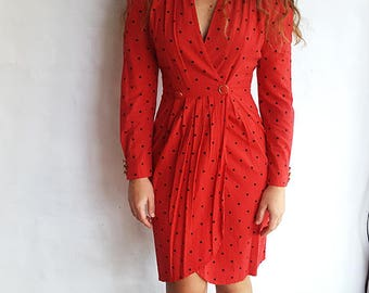 Vintage Red and Black Polkadot Power Dress, Small