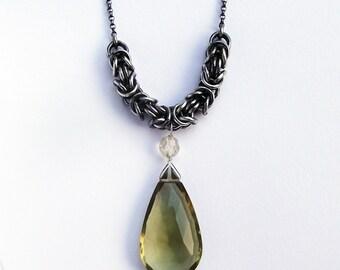 Olive Quartz and Silver Byzantine necklace