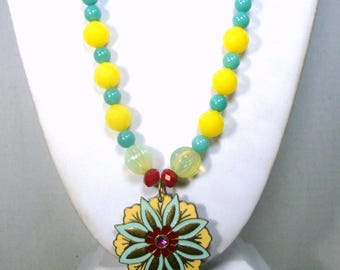 Yellow, Green Red Glass Bead Necklace, Pretty Enameled Flower Pendant, Easter Spring Colors, OOAK by Rachelle Starr