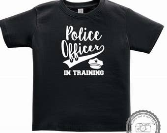 Police Officer In Training Crew Neck Shirt- Infant Toddler Baby Boy or Girl Kids Tshirt- Baby Shower Gift- Support Thin Blue Line- #031