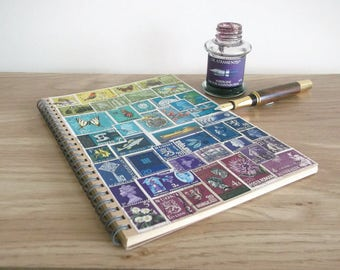 Travel Journal Planner, Spiral A5 Dot Grid Notebook Journal | Graduation Gift, Student Planner | OOAK Postage Stamp Art, Moss Blue Purple