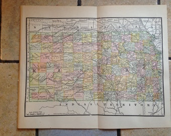 1890 Political Map of Kansas Antique Illustration