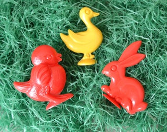 Vintage Miniature Easter Stand Up Rabbit Duck and Chick Rattle Toys Lot