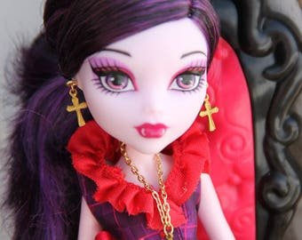 """Reserved for Mich   Golden Cross Doll Jewelry Set Necklace & Earrings for 11 1/2"""" - 12inch Dolls Petite Slimline High Dolls"""