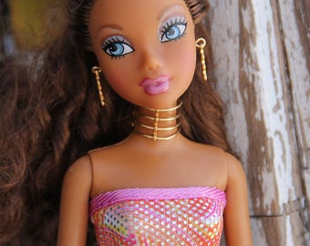 """Gold Wire Choker Necklace & EarringsDoll Jewelry Set fits 11 1/2 - 12"""" 1/6th Scale Fashion Dolls"""