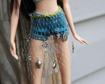 Fishnet Mermaid Treasures Skirt Overlay for 1/6th Scale Fashion Dolls and Petite Slimline High Dolls