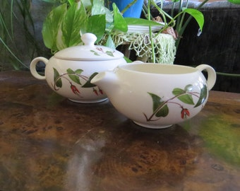 Salem Primrose Lidded Sugar and Creamer Set, Vintage Dinnerware, White with Red Flowers, Green Leaves Foliage, 1950s