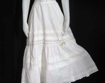 Antique Petticoat Slip White Cotton Vintage Victorian Edwardian Dbl Skirt Embroidered Eyelet Lace Pin Tucks Ribbon 1900's Drawstring Waist