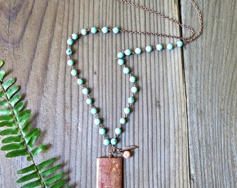 Jasper and Turquoise Beaded Boho Necklace