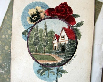 antique original watercolour painting - old cottage with a sweet garden in decorative border - circa 1900