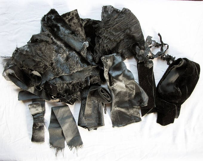 vintage fabric scraps - rag bag of black velvet, satin and lace remnants and ribbons - circa 1900-1940s