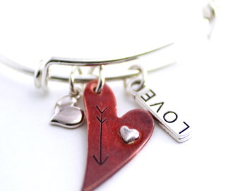 Heart Bracelet, Silver Bangle Bracelet, Charm Bracelet, Valentine Bangle, Heart Bracelet, Gift, Sweetheart Bracelet, Love Bracelet