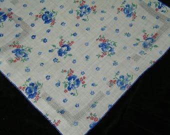 """Vintage 1940's 11"""" Blue & Red Floral Wedding Favor, Banner, Pocket Square Handkerchief - 9847"""
