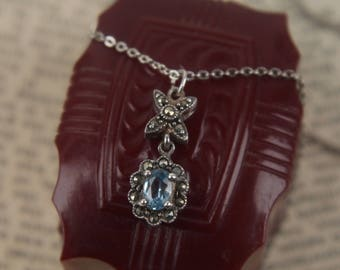"art deco sterling blue topaz + marcasite pendant antique necklace vintage 18"" silver chain"