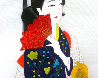 Vintage 1950s-JAPANESE GEISHA-Hand Painted-Signed-Artist Original-Painted on Silk Organza-Beautiful-Rich Colors-Measures 18 x 14- Rare