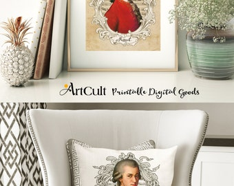 Two Large Printable Images MOZART Digital Collage Sheets to print on fabric or paper, Iron On Transfer for tote bags t-shirts pillows