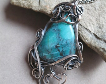 Turquoise and Dark Sterling Silver Pendant