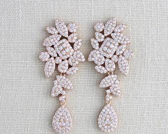 Rose Gold Earrings, Crystal Bridal earrings, Wedding jewelry, CZ earrings, Rose Gold jewelry, Modern Bride earrings, Dangle earrings, Pave