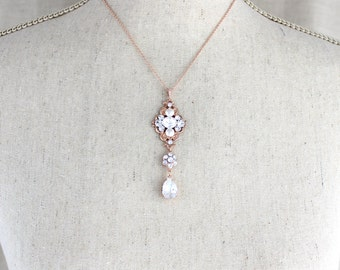 Rose Gold Bridal necklace, Simple Wedding necklace, Wedding jewelry, Swarovski crystal necklace, Pendant necklace, Vintage style, ASHLYN