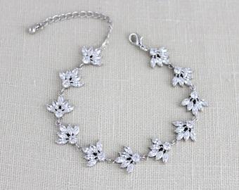 Crystal Bridal bracelet, Rose gold bracelet, Bridal jewelry, Wedding bracelet, Swarovski CZ Bracelet, Bridesmaid bracelet, Crystal EMMA