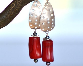 Red Coral  Earrings. Sterling Silver Earrings. Large Coral Handmade Earrings.  Statement Jewelry. Boho Earrings.