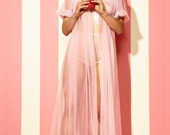 Long Sheer Dressing Robe Old Hollywood Boudoir Style