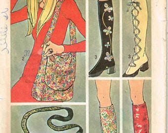 Go Go Boots Spats Boot Covers and Hippie Purse Simplicity 9553 Vintage 1970s Sewing Pattern