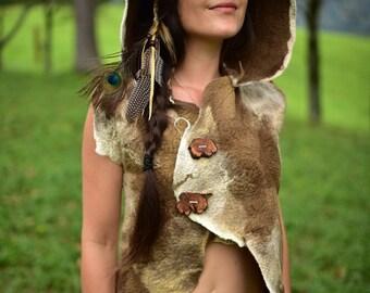 Felt Hooded Vest-Natural Vest-Wool Top-Tribal Vest-Woodland Clothing-Festival Wear-Felt High Collar Vest-Pixie Vest-Woodland Clothing OOAK