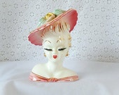 vintage lady head vase planter, Lefton, mid century, ceramic, home decor, art & collectibles, fine art ceramics