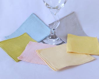 vintage cocktail napkins, 6 linen napkins, small napkins, barware, mixed colors, 1950s, mid century, vintage linens