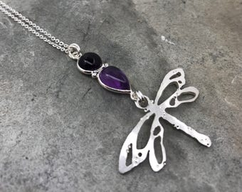 Silver Dragonfly - Dragonfly Necklace - Dragonfly Pendant - Amethyst - Sterling Silver Chain - Woodland - One of a kind - Handmade - Pendant