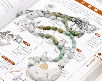 Ruyi FengHuang necklace - ice jadeite, and calcite marble stone.