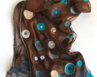 Felted silk chiffon scarf- Rusty felted scarf with aqua dots, Dots scarf, Geometric scarf, Winter fashion accessory, Blue brown scarf OOAK