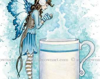 5x7 Hot Cocoa coffee tea fairy PRINT by Amy Brown