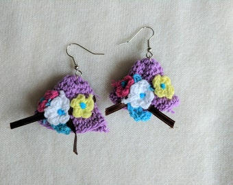 Crocheted Hats! Fun Spring Themed Earrings Crocheted in Purple Cotton with Tiny Flowers
