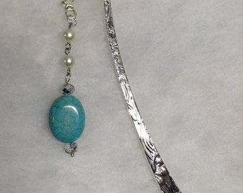 Bookmark - Metal Hook Style Bright Silver-tone with Dyed Howilite Beaded Drop  #23