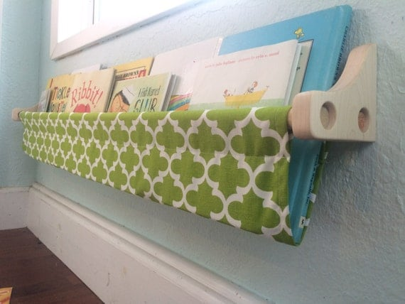 Book Sling and Wooden Brackets- Green and White Trellis Book Sling- 1 Sling - you choose size